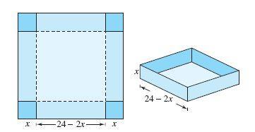 An open box is to be made from a square piece of material, 24 cm on a side,  by cutting equal squares - Brainly.in