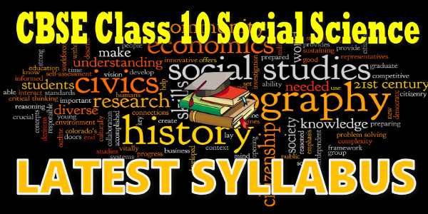 Latest CBSE Syllabus for Class 10 Social Science