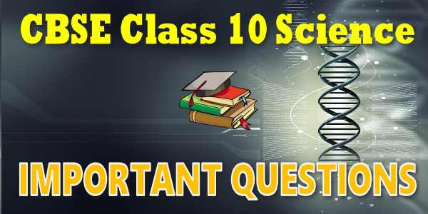 Important Questions class 10 Science