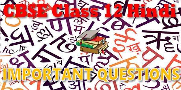 Important Questions class 12 हिंदी कोर
