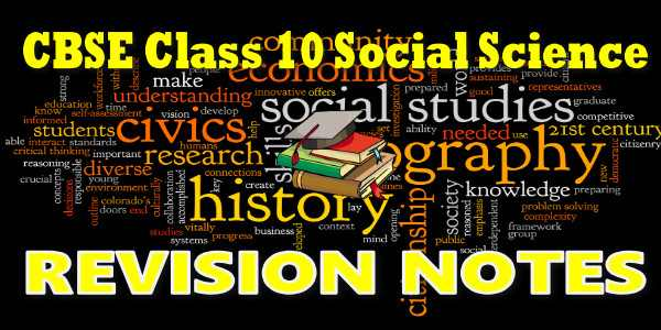 CBSE Revision Notes for class 10 Social Science