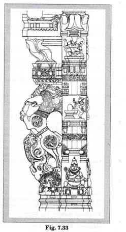 Image result for an illustration of another pillar from the Virupaksha temple. Do you notice any floral motifs? What are the animals shown? Why do you think they are depicted? Describe the human figures shown.
